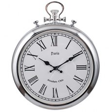 Silver Metal Round Wall Clock