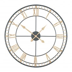 Antique Bronze & Gold Metal Round Wall Clock