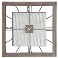 Natural Wood Square Wall Clock