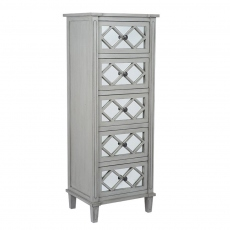 Dove Grey Mirrored 5 Drawer Tall Boy