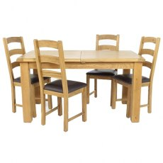 Cheltenham Oak Small Extending Dining Table With 4 Ladder Back Chairs