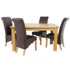 Cheltenham Oak Small Extending Dining Table With 4 Maine Chairs