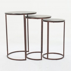Trieste Gold Nest of 3 Tables