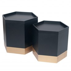 Black & Gold Hexagon Storage Boxes (Set of 2)