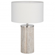White Wash Wood Column Table Lamp