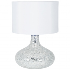 Silver and White Mosaic Mirror Table Lamp