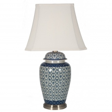 Blue and White Ceramic Ginger Jar Table Lamp