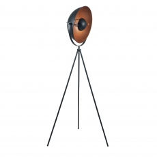 Black and Copper Diffused Tripod Floor Lamp
