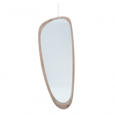 Natural Wood Veneer Teardrop Shaped Mirror