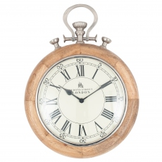Nickel & Wood Stopwatch Wall Clock