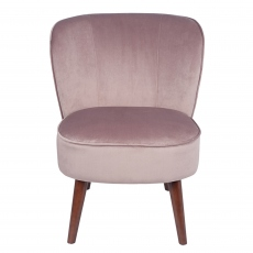 Blush Pink Velvet Chair with Walnut Effect Legs