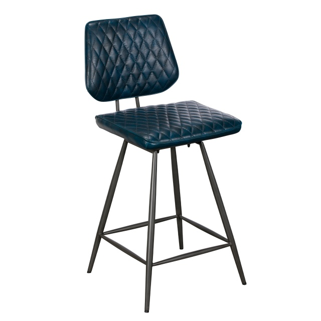Baker Furniture Carson Bar Stool Dark Blue