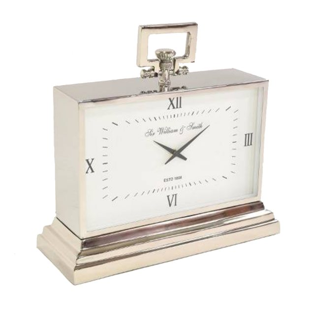 Large Nickel Finish Rectangular Mantel Clock