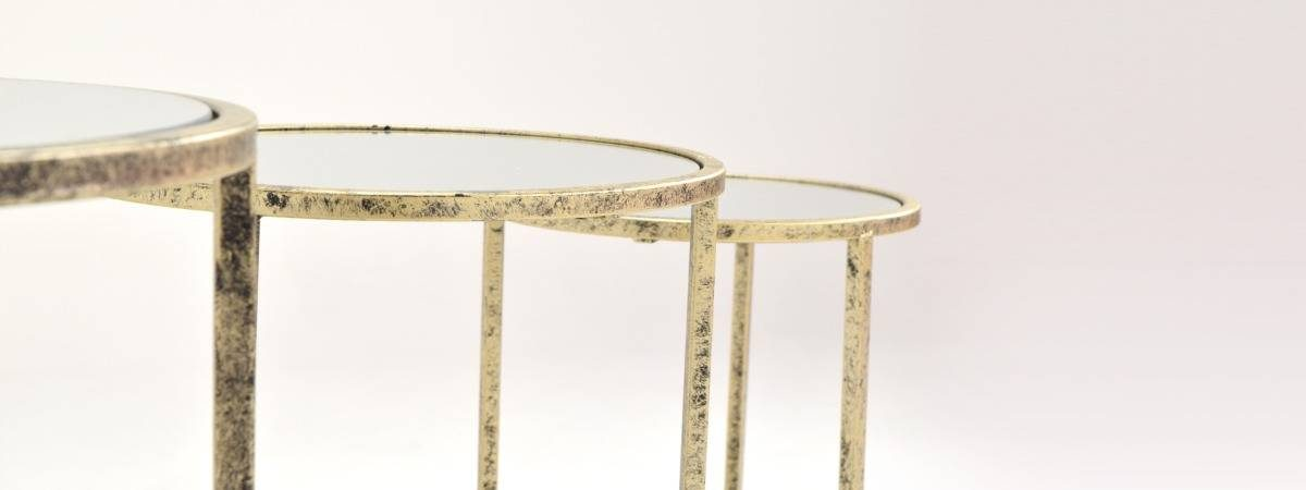 Mirror Top Nest of 3 Tables