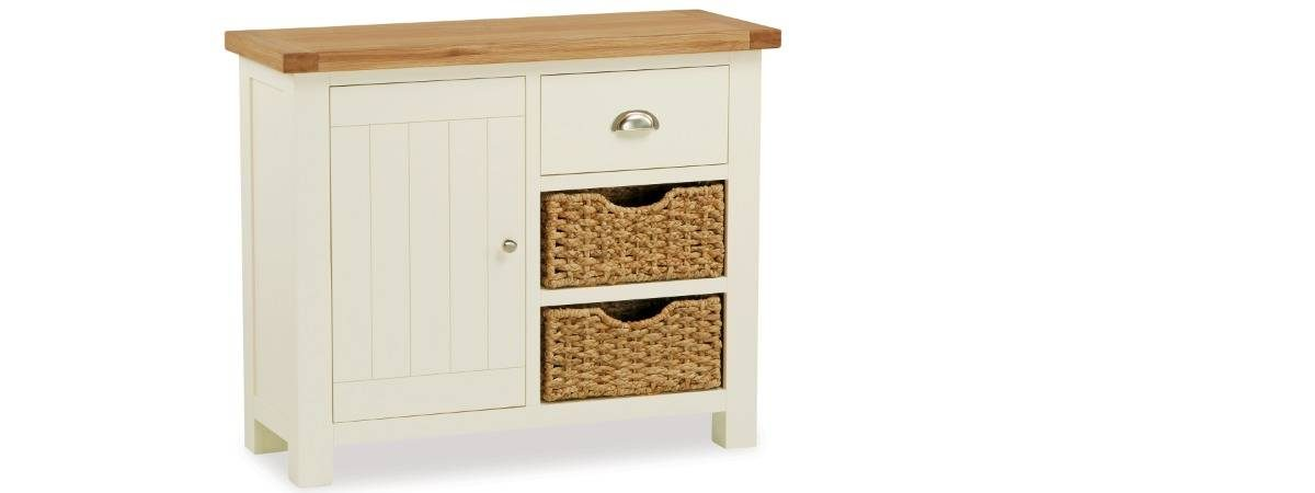 Country Cottage Small Wooden Sideboard With Basket