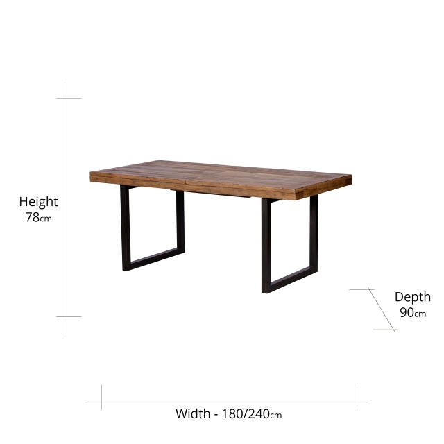 Reclaimed Ranch 180cm Extending Wooden Dining Table FSC Certified