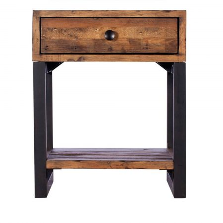 Reclaimed Ranch Lamp Table With Drawer FSC Certified