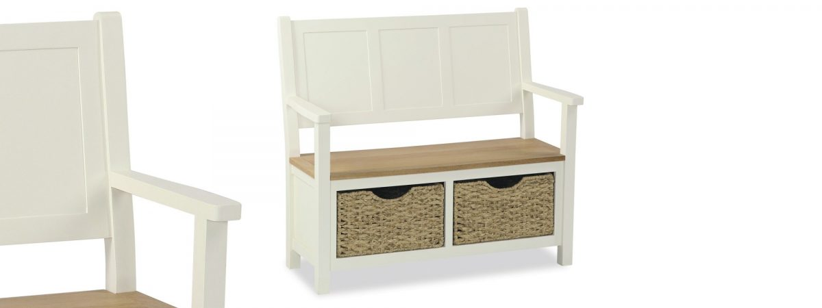 Country Cottage Monk Bench With Basket