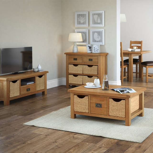 new style 1d3f0 fe4fd Cheltenham Oak Small Sideboard With Baskets