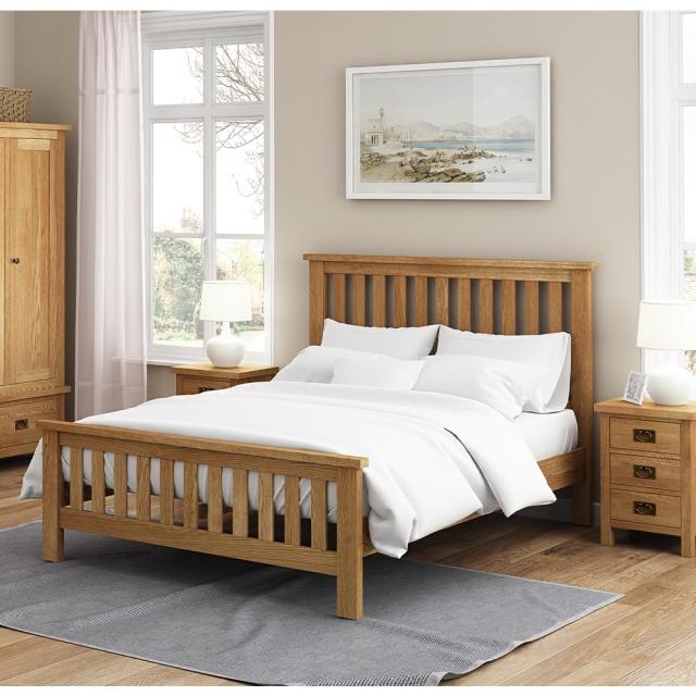 Cheltenham Oak Compact Slatted Bed 4'