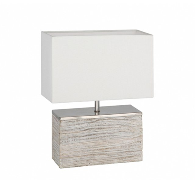 Grey Wash Wood Table Lamp