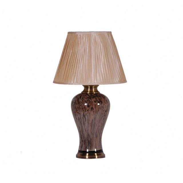 Brown Marble Lamp with Gold Shade thumbnail