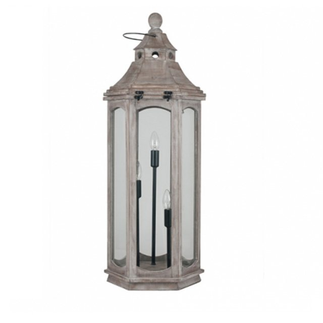 Grey Wood Floor Lantern