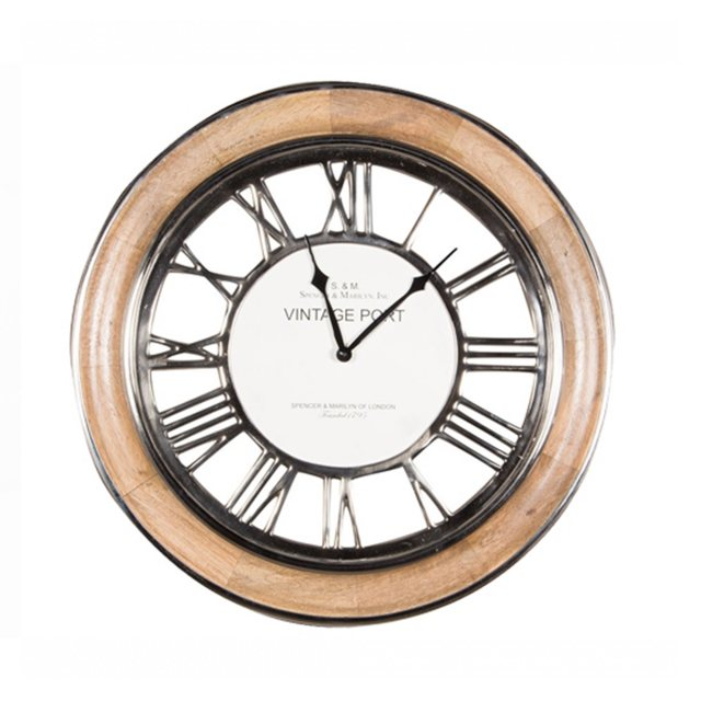 Polished Nickel & Mango Wood Round Clock