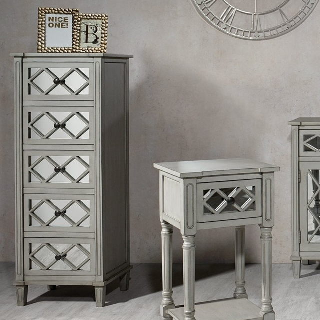 Pacific Lifestyle Dove Grey Mirrored 5 Drawer Tall Boy