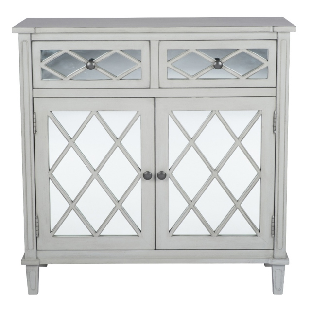 Dove Grey Mirrored 2 Drawer Unit