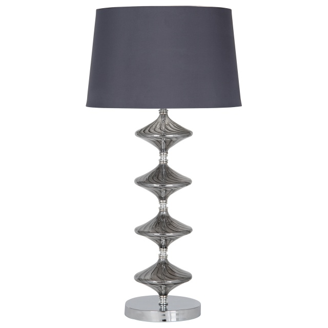Metal and Grey Glass Table Lamp