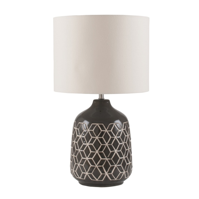 Dark Grey Geo Ceramic Table Lamp
