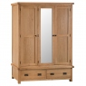 Odessa Oak 3 Door Wardrobe with Mirror