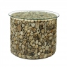 New Horizon Driftwood Drum Lamp Table with Glass Top
